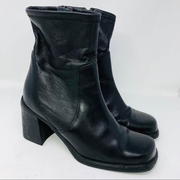 61ad5ccab asap Shoes - VTG 90s ASAP black zip square toe leather boots 10